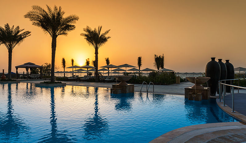 Sunset at Ajman Saray hotel.