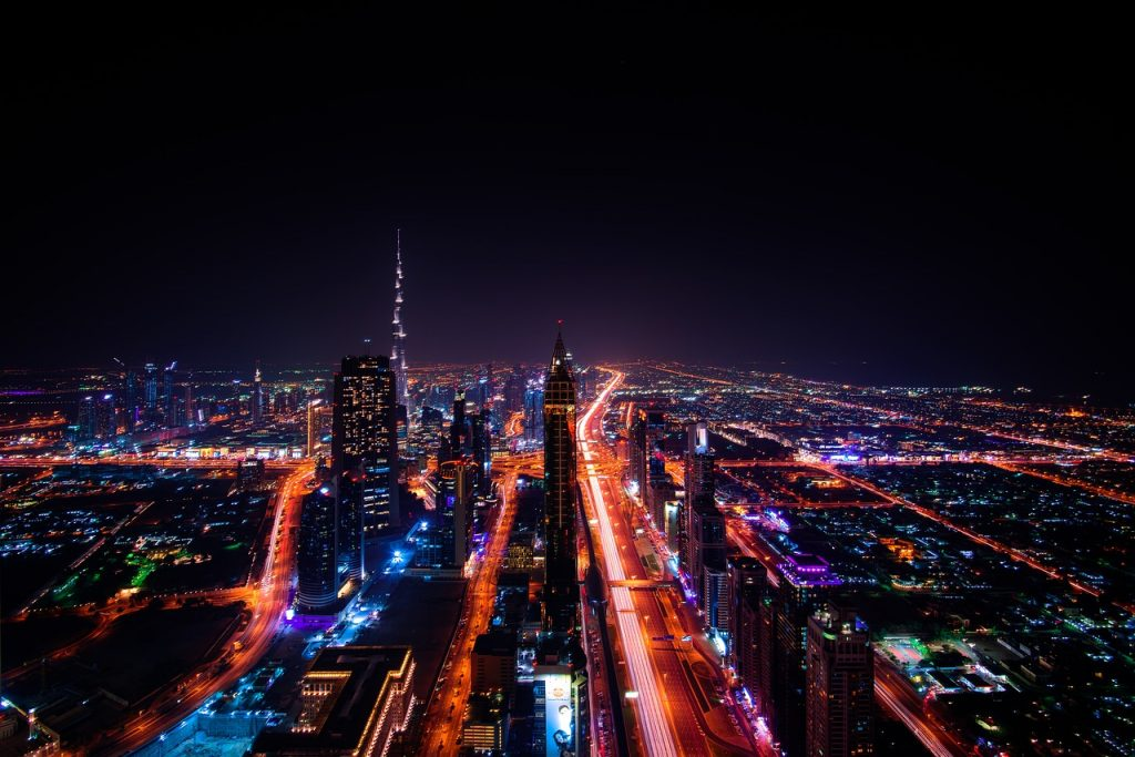 Dubai Skyline at night photography