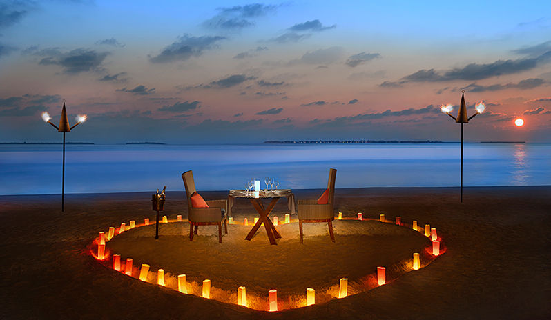 Romantic dinner set up at JA Manafaru