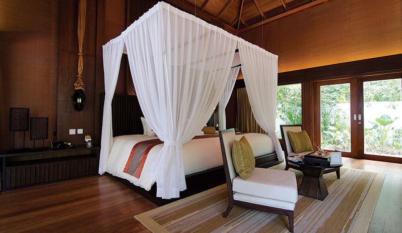 One of the luxurious rooms at Jumairah Dhevanafushi in the Maldives.