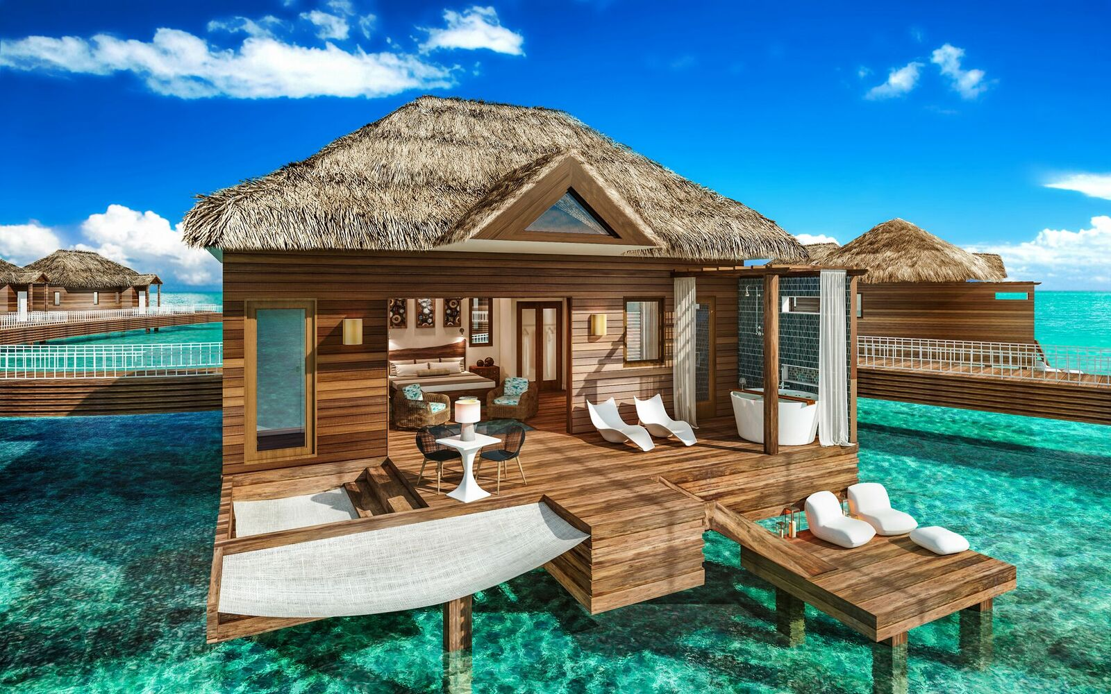 overwater villas at Sandals Royal Caribbean