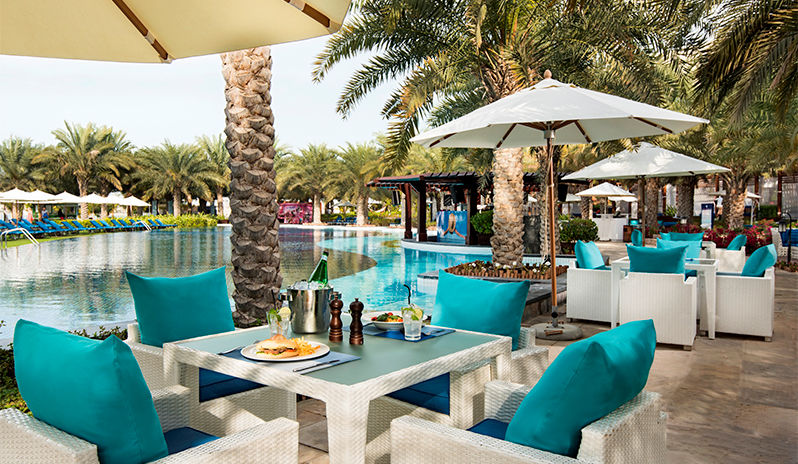 lunch by the pool at Rixos the Palm Dubai