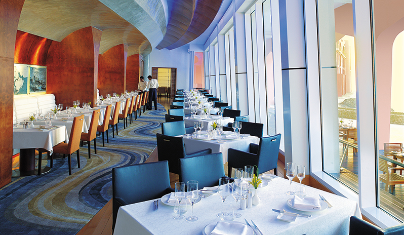 interior of luxury hotel restaurant