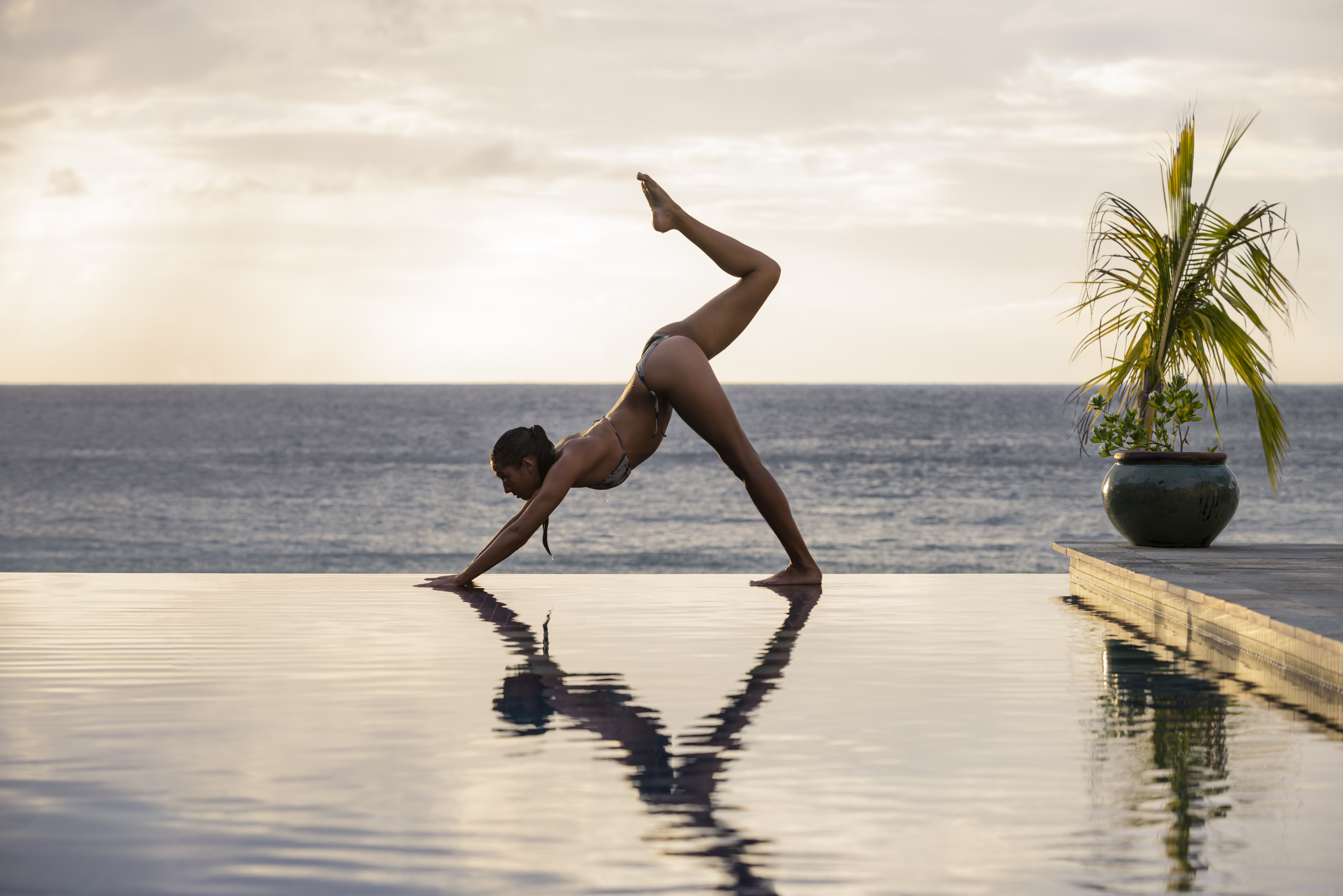 Practicing yoga in one of the world's best fitness resorts.