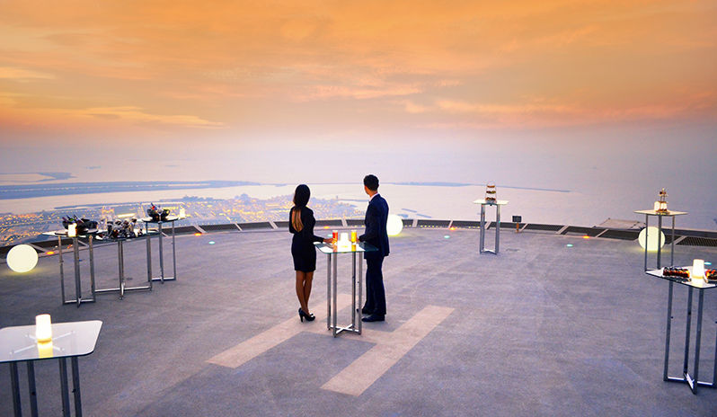 Sunset supper on the helipad at St. Regis Abu Dhabi