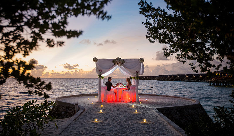 Romance blossoms for couples on Indian Ocean all-inclusive holidays at Centara Ras Fushi