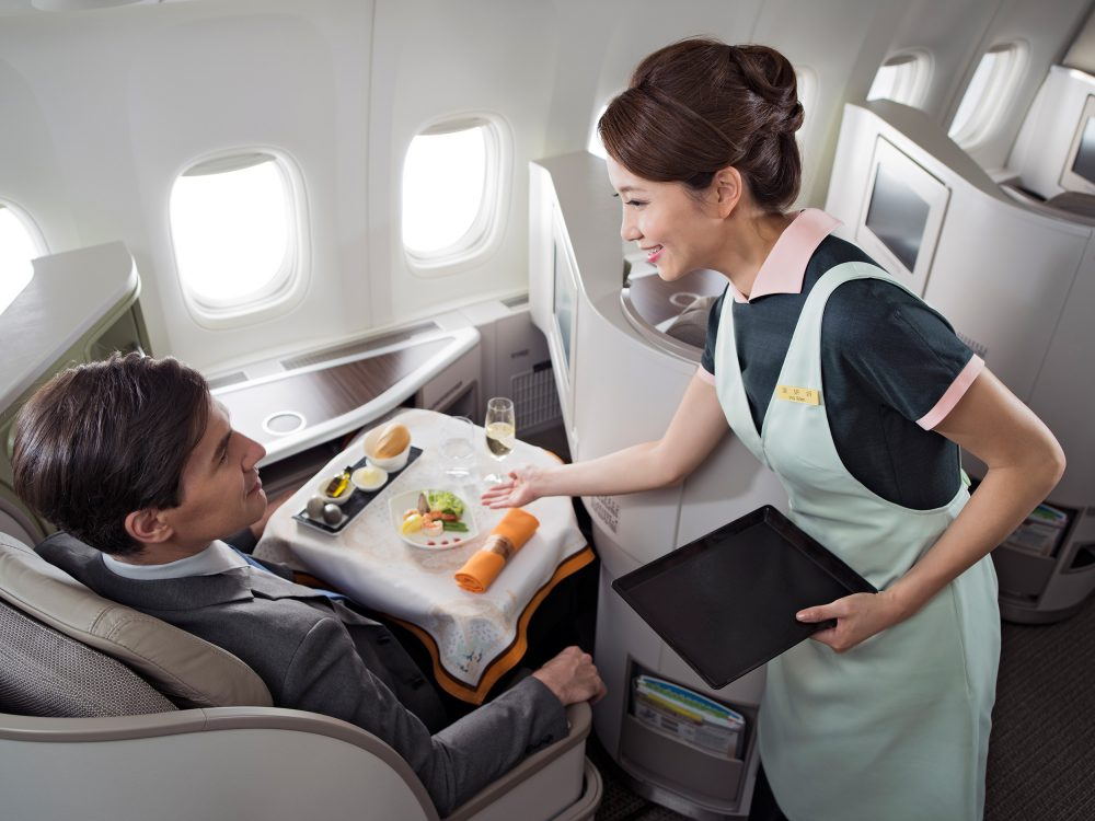 Cabin crew service on an EVA Air flight